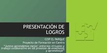 Presentación de logros CEIP EL PARQUE PROYECTO INNOVACIÓN EDUCATIVA