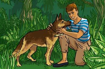 Un capitán de 15 años: Dick Sand se encuentra con su perro Dingo